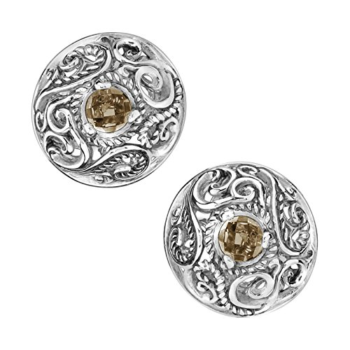 - Carolyn Pollack By CP Smoky Quartz Button Earrings