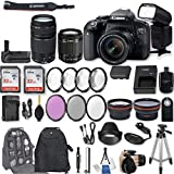 Canon EOS Rebel T7i DSLR Camera with EF-S 18-55mm f/4-5.6 is STM Lens + EF 75-300mm f/4-5.6 III + 2Pcs 32GB Sandisk SD Memory + Universal Flash + Battery Grip + Filter & Macro Kits + Backpack + More