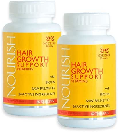 Nourish Beaute Hair Growth Vitamins for Hair Loss and Thinning that Promotes Regrowth for Men and Women, 2 Bottles of 60 Tablets