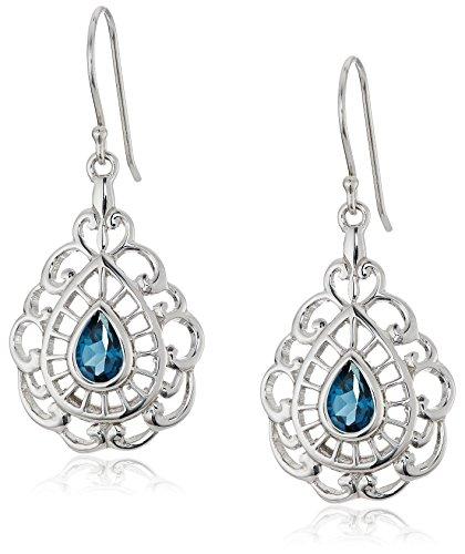 Openwork Teardrop Earrings - Sterling Silver London Blue Topaz Filigree Teardrop Earrings