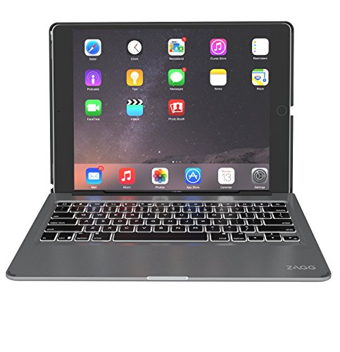 ZAGG Slim Book Ultrathin Case, Hinged with Detachable Bluetooth Keyboard for Apple iPad Pro 12.9 1st & 2nd Generation 2015/2017 - Black