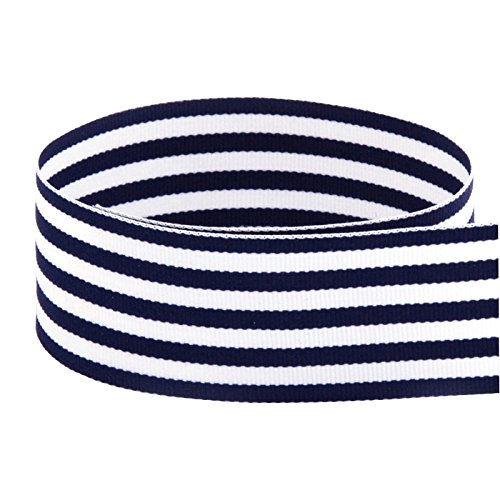 USA Made 1-1/2'' Navy & White Monarch Striped Grosgrain Ribbon - 50 Yards (Multiple Colors & Widths Available) by The Ribbon Factory