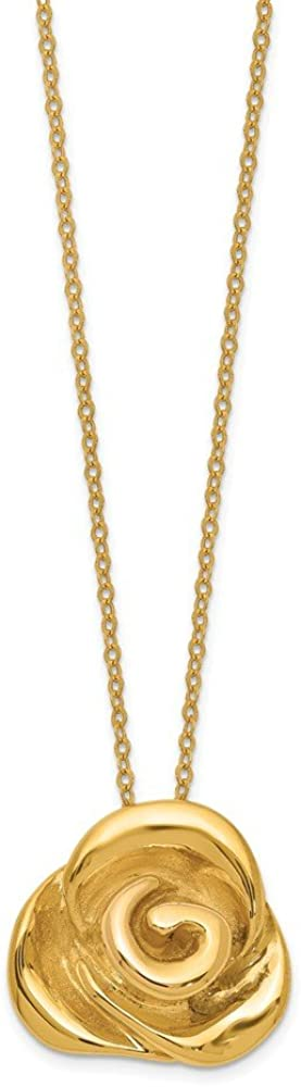 18 Inch Length Necklace 14k Yellow Gold Polished Puffed Rose 18 Inch Length