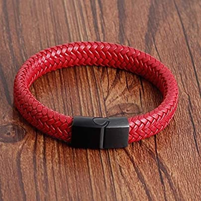 ZUOZUO Leather Wristband Red Leather Bracelet Men S Stainless Steel Skull Ornaments Bracelet Multi-Layer Rope Wrist Strap Male Estimated Price £19.99 -