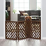 Modern Walnut Finish Wood 3 Panel Freestanding Pet Gate