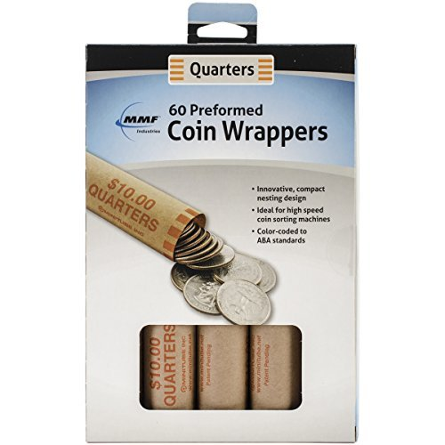 MMF Industries Nested Preformed Coin Wrappers, Quarter, 60-Pack by MMF (Mmf Quarters Coin Wrapper)