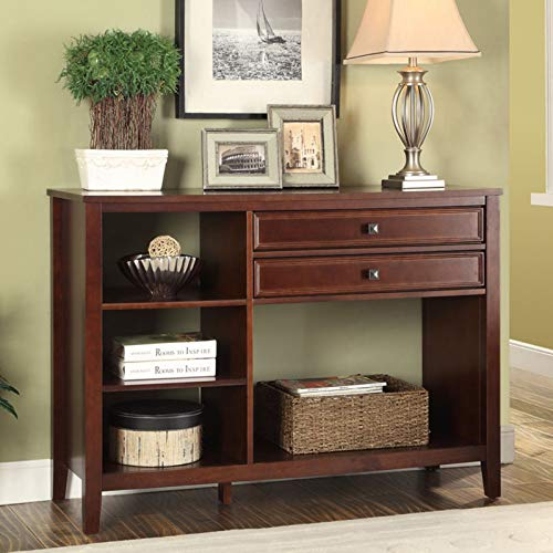 Stylish Console Table, Sturdy and Long-Lasting Wood Construction with 2 Storage Drawers, Multiple Shelves and a Large Top, Ample Storage and Display Space, Dependable, Cherry Finish