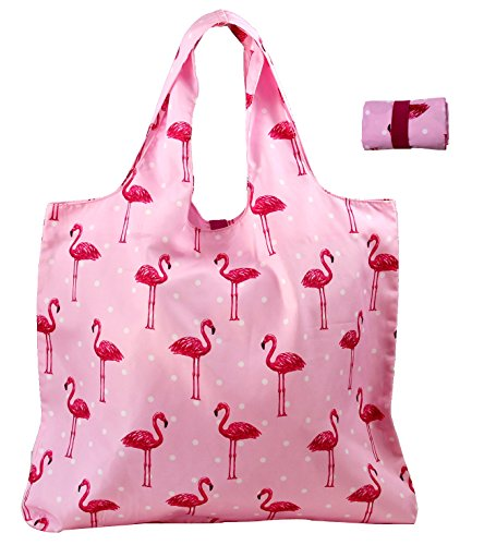 BeeGreen Reuable Bags Grocery Roll Up w Elastic Ribbon,Fashion Printing Pattern Design, Compact, Washable, Durable and Lightweight (Flamingo) (Pink Flamingo Accessories)