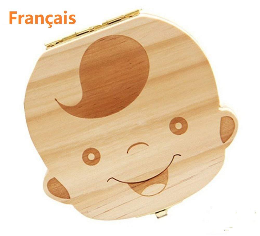Boîte à dents de lait pour bébés, Lomire boîte en bois de rangement / organisateur de souvenir pour les dents des petits enfants -- outil de souvenir parfait pour l'anniversaire et la croissance des garçons et les filles (Fille)
