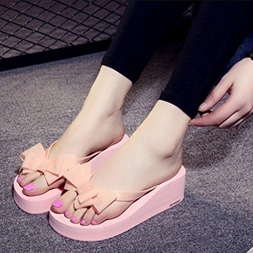Fashion Flip Womens Estivales Beach Sandales Flops XHCHE Rose Bowknot B6znFqTnf
