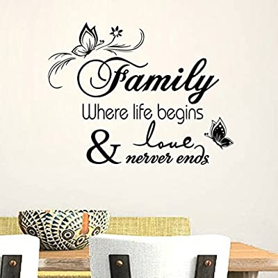 Hi-Shop Family Where Life Begins and Love Never Ends Quote Decors Wall Saying Decals Quote for Home Wall Stickers Nursery Decor(2): Home & Kitchen