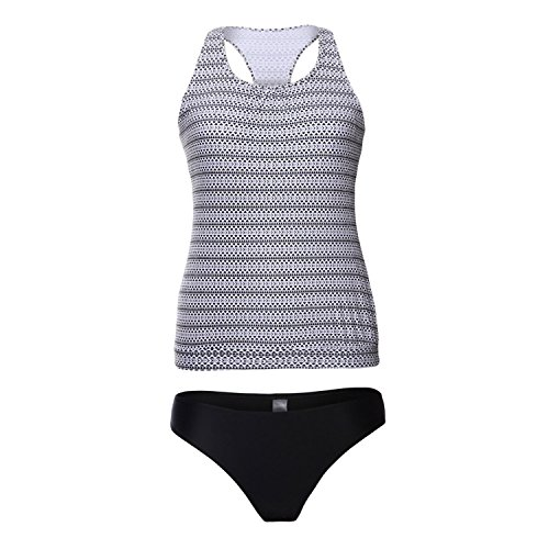 Noon-Sunshine Station Resort Bikini Chic Printing Vest Triangle Split Swimsuit 410256,Pattern,XL