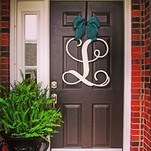 - Custom Monogram SINGLE Letter Wooden Door Hanger Wreath