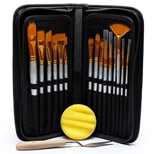 Acrylic Oil Watercolor Paint Brush Set – 15 Different Shapes & Sizes – FREE Painting Knife & Watercolor Sponge – No Shed Bristles – Wood Handles – For Body - Different Type Of Shapes Face