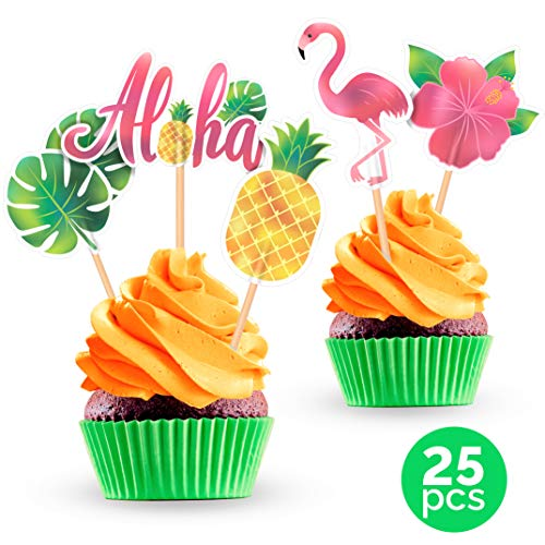 Luau Tropical Hawaiian Cupcake Toppers - Summer Party Decorations Supplies - 25 PCS