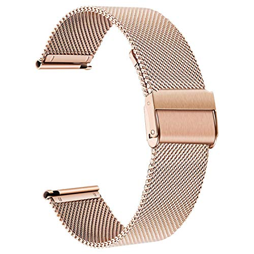 SmartDaily Rose Gold Watch Strap for Women, 18mm Stainless Steel Watch Band Milanese Mesh, Women's Watch Bracelet Replacement Quick Release (18mm Mesh Watch Band)