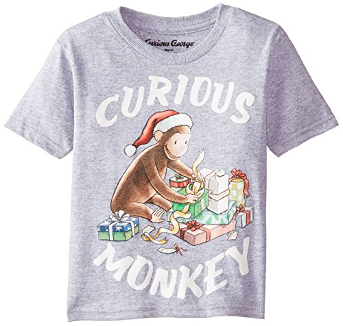 Curious George C-Life Group Little Boys' Toddler Short Sleeve Presents Holiday Shirt, Heather Grey, 4T