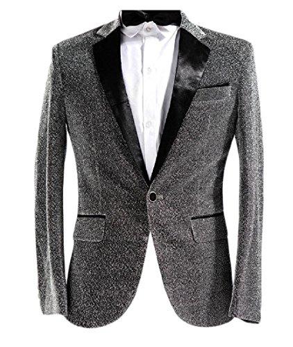 buildup Men's Sequin 1 Button Coat Slim Fitting Lapel Shiny Simplicity Suit Silver S