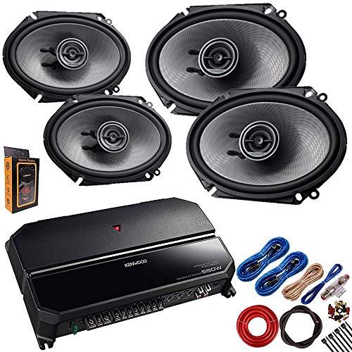 Kenwood KAC-6407 550 Watts 4-Channel Amplifier + (4) KFC-D681C 6x8 360 Watt 2-Way Speakers + Amp Kit ()