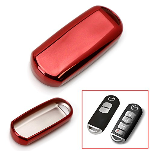 iJDMTOY Chrome Finish Red TPU Key Fob Protective Cover Case For Mazda 2 3 5 6 CX-3 CX-5 CX-7 CX-9 MX-5 Remote Key (Fit Keyless Fob ONLY, not Flip Key)