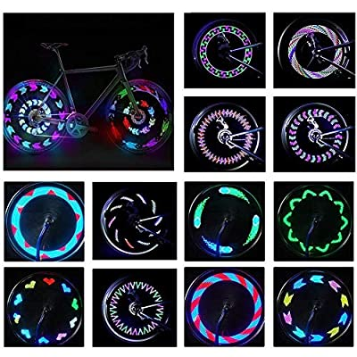 BYPA Bike Wheel Lights, 14 LED Bicycle Wheel Spoke Light- 30 Different Patterns Change -Colorful Bicycle Cycling Tire Lights-Ultra Bright and Visible from All Angles Ultimate Safety