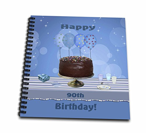 12x12 Album Chocolate (3dRose db_123976_2 90th Birthday Party with Chocolate Cake and Blue Balloons Memory Book, 12 by 12-Inch)