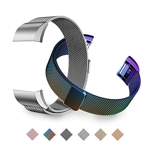 Tecson Magnetic Bands Compatible Fitbit Charge 2 (Pack of 2), Stainless Steel Metal Milanese Replacement Strap with Magnet Lock for Fitbit Charge 2, Colorful and Silver ()