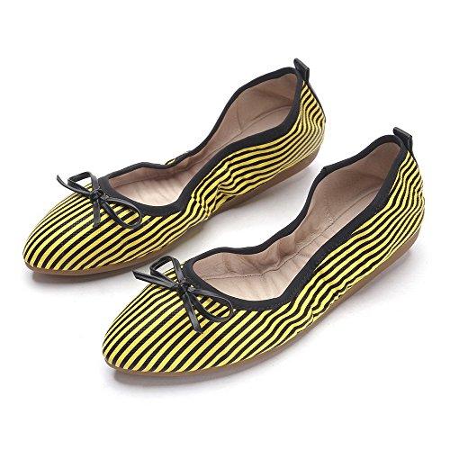 Gelb AllhqFashion Zehe Damen auf Niedriger Spitz Flache Absatz Schuhe PU Leder Ziehen SOfSCwPq