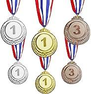 6 PCS Gold Silver Bronze Winner Award Medals Winner First Second Third Winner Metal Medals Prizes with Neck Ri
