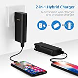 PISEN 2-in-1 Portable Charger 10000mAh - External Battery Pack & Wall Charger with Foldable AC Plug Smart USB Output for iPhone/iPad/ Android/Tablets/ Samsung Galaxy and More (Black)