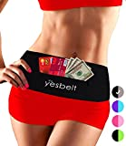 YesBelt #1 REVERSIBLE Running Belt and Waist Pack w ZIPPER - Better than Cell Phone Sports Armband - iPhone 6 Plus - Best Travel Money Belt - Stylish Fitness Zip 'n Flip Band for Workout - Black M