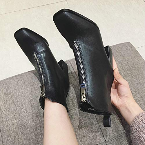 HBDLH Damenschuhe Schlanke Lederstiefel Heel 7 cm cm cm Kurze Stiefeln Dicken Hacken Mit Stiefeln Am Kopf Martin Stiefel fb9c4b
