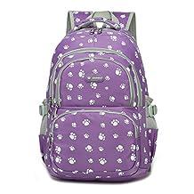 Dog Pawprint Cat Fingerprint Backpack for Elementary or Middle School Girls (Purple)