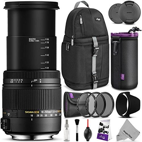 Sigma 18-250mm f3.5-6.3 DC MACRO OS HSM Lens for NIKON DSLR Cameras w/ Advanced Photo and Travel Bundle