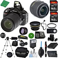 Nikon D5300 DSLR - International Version (No Warranty), 18-55mm f/3.5-5.6 DX VR, 2pcs 16GB Memory, Camera Case, Wide Angle, Telephoto, Flash, Battery, Charger