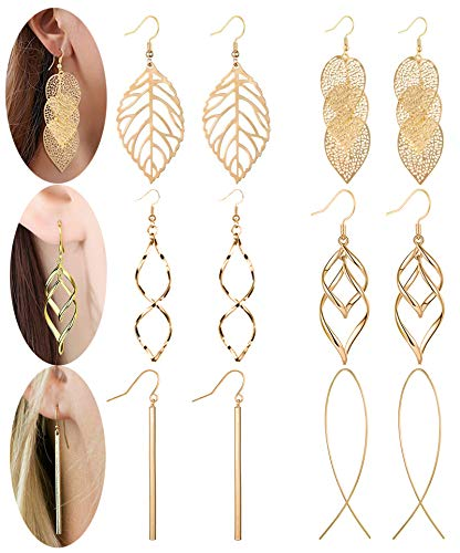 Anlsen 6 Pairs Drop Dangle Earrings for Women Girls Long Bar Double Twist Wave Curved Threader Cut Out Leaf Lightweight Earrings Set