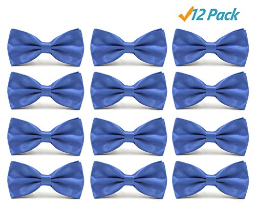 12pcs Men's Pre-tied Adjustable Formal Bow Tie Tuxedo Solid Bowtie by Avant Men (12 pack-Blue)