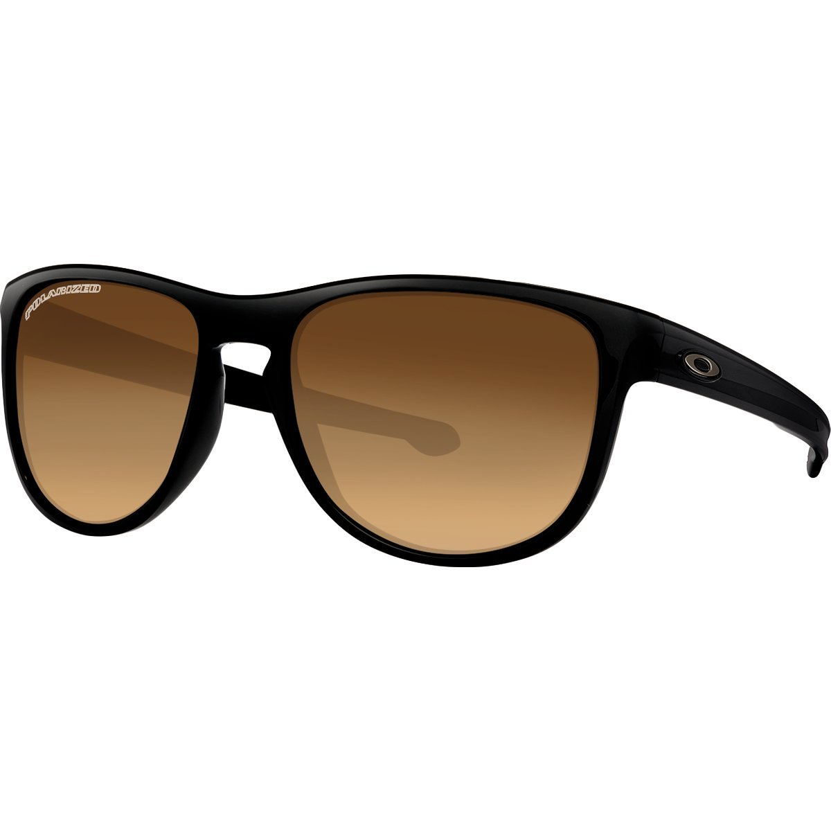 Oakley Men's Sliver R Polarized Rectangular Sunglasses, Matte Black with Brown Gradient, 57 mm
