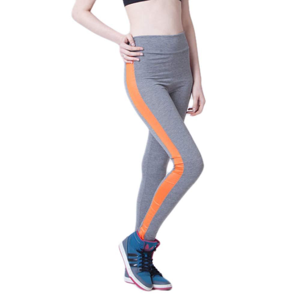 Sport Yoga Women's Stretchy Skinny Leggings Vertical Strip Fitness L//XL