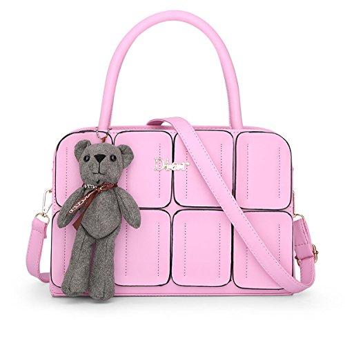 Qjfashion Women's Plaids Leather Handbag Ladies Tote Shoulder Bag Messenger Bag (pink) Qjwaa0753
