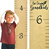 "Growth Chart Art | Wooden Wall Growth Chart Ruler for Kids, Girls + Boys | Measuring Kids Height Wall Décor | Naked Birch/Black Lettering ""Our Growing Grandkids"""