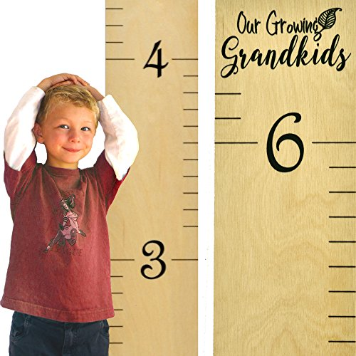 "Growth Chart Art | Hanging Wooden Height Growth Chart to Measure Grandchildren - Naked Birch Ruler with Calligraphic Design - ""Our Growing Grandkids"" - Wall Decoration for Grandparents - 58""x5.75"""