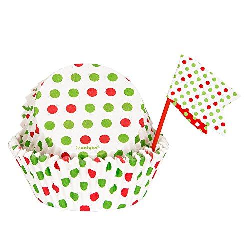 Red Green Polka Holiday Cupcake