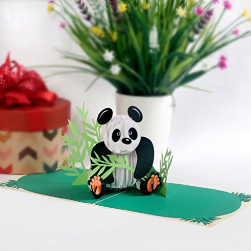 CUTPOPUP 3D Panda Paper Pop Up Greeting Card Cute Laser Cut Panda Animal Pop Out Card for Birthdays, Anniversaries, Mother's Day - Includes Envelope - Ideal Gift for Family, Friends, ()