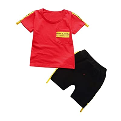 Jinjiu Newborn Kids Baby Boys Short Sleeve Printing T-shirt Tops+Pants 2Pcs Outfits Clothes Set