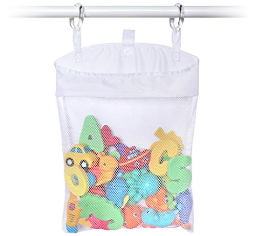 Toyganizer Hanging Bath Toy Organizer (White) - No Suction Cups Needed