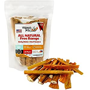Bully Sticks and Beef Tendons – Healthy Free Range Angus Beef Dog Treats – The Perfect Gourmet Pet Chews that Dogs Love! Made in the USA (15 Pack)
