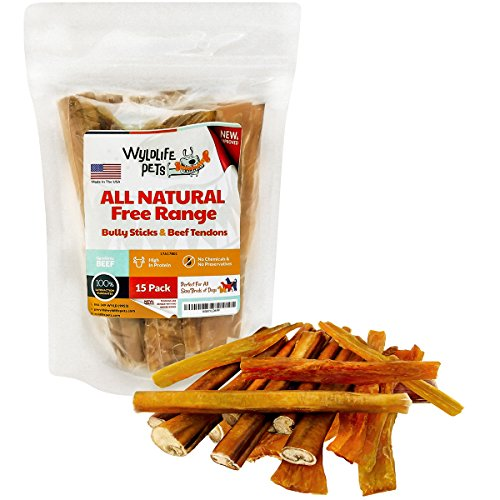 Flavored Rawhide Knotted - Bully Sticks and Beef Tendons - All Natural American Free Range Angus Beef Dog Chews - Fully Digestible Pet Treats - Promotes Dental Health (15 Pack)