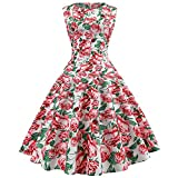Vibola Women Dress Clearance Vintage Hepburn Dress Sleeveless Pleated Dress with Belt (L, Red)