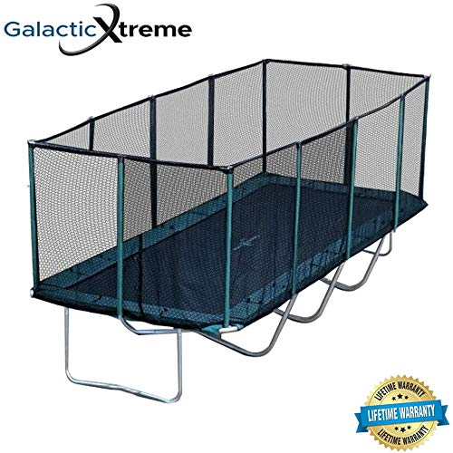 Happy Trampoline - Galactic Xtreme Gymnastic Rectangle Trampoline with Net Enclosure - High Performance & Safety Features Commercial Grade I Life-time warranty, 550 lbs Jumping Capacity, 10 X 23 Ft